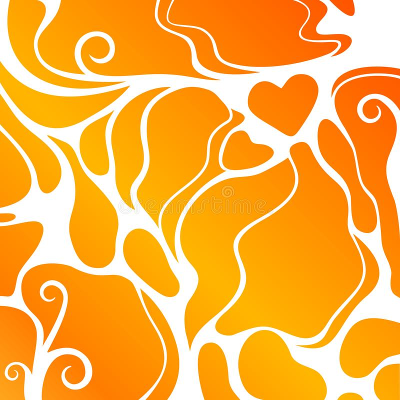 Orange abstract shape background with heart royalty free illustration