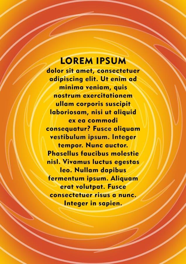Orange abstrakt bakgrund i plasmadesign, prövkopiatext, oval samlad orientering i orange och gula flammafärger, räkning vektor illustrationer