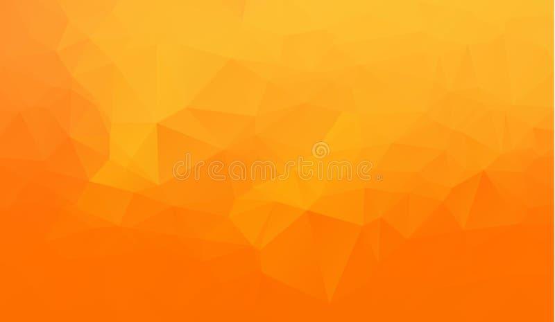Orange abstrakter geometrischer zerknitterter dreieckiger niedriger Polyartvektorillustrations-Grafikhintergrund lizenzfreie abbildung