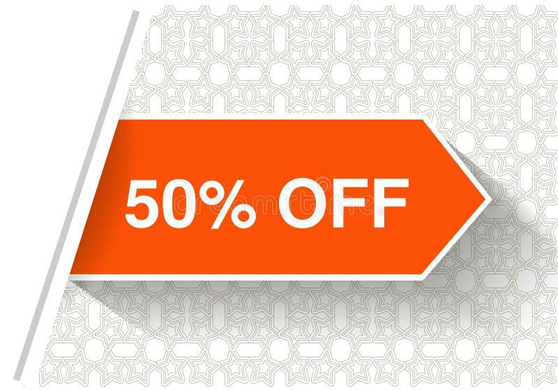 Orange advertizingetiketter Pilklistermärkear som sätts in under vitboksidan Erbjudande - 50 AV på den dekorativa bakgrunden stock illustrationer
