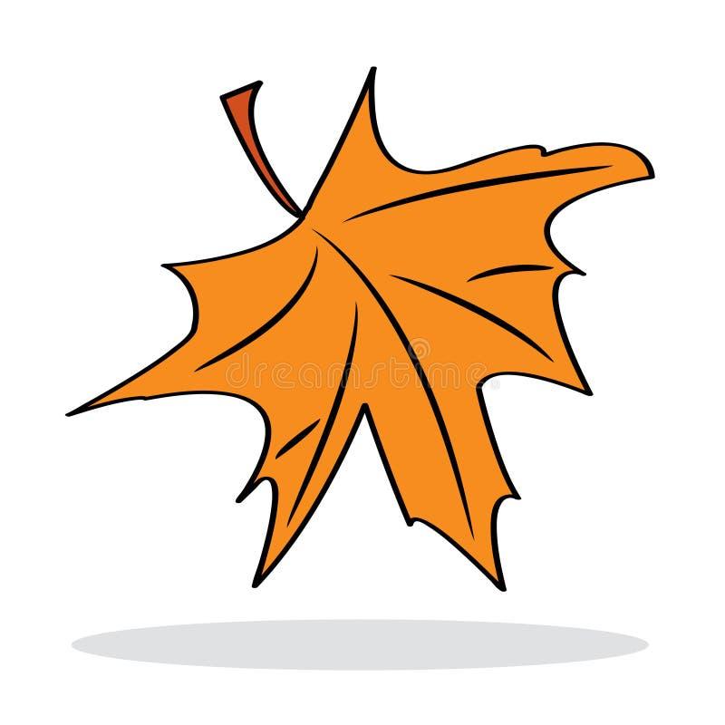 Orange Ahornblatt mit grauem Schatten stock abbildung