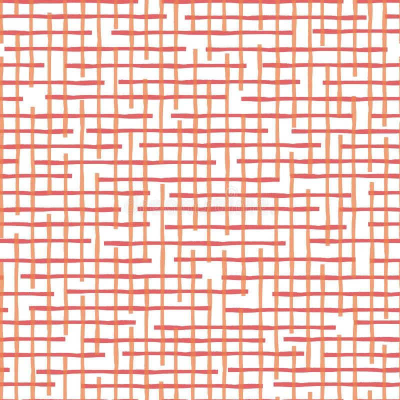 Orange aléatoire horizontale et conception de corail de grille d'aquarelle Modèle géométrique sans couture de vecteur sur le fond illustration de vecteur