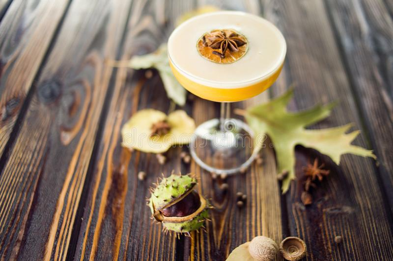 Orange alcoholic cocktail. With anis and citrus in restaurant stock photos