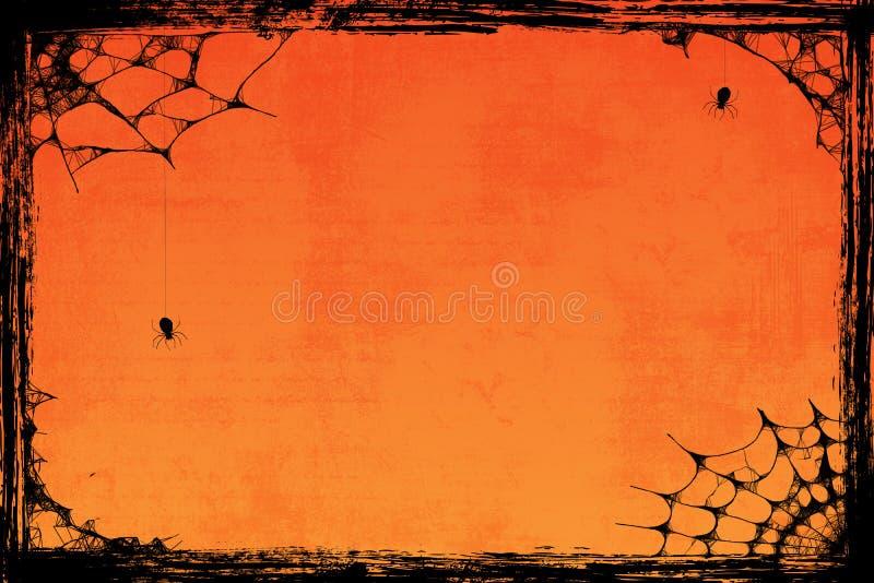 Orange allhelgonaaftonbakgrund för Grunge med spindlar stock illustrationer