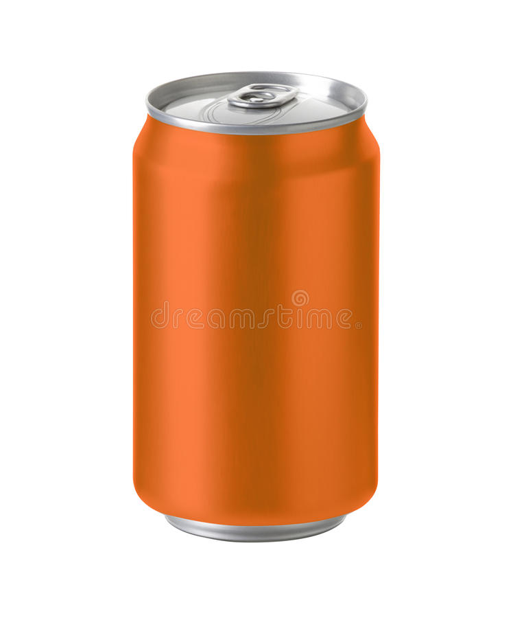 Orange aluminum can with space for design and clip path stock photos