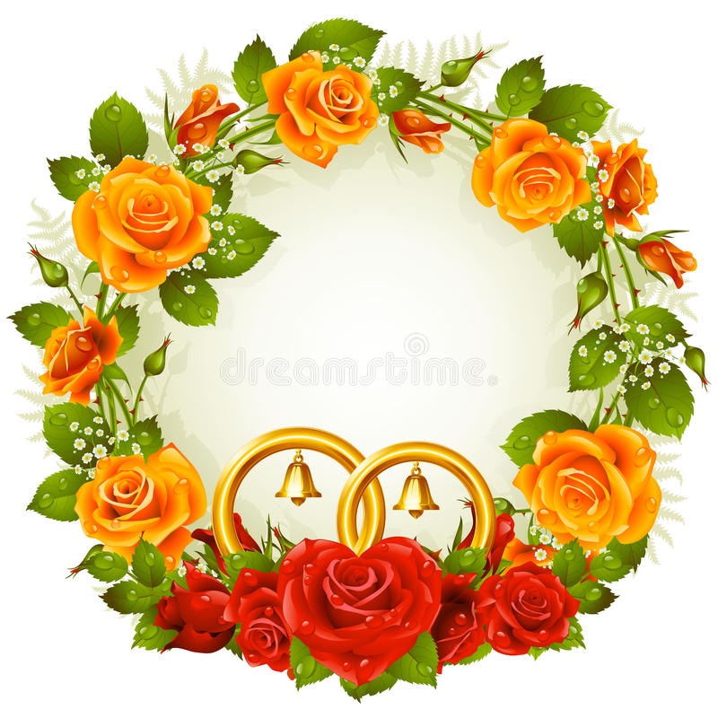 Free Orange And Red Rose Circle Frame Royalty Free Stock Photography - 24631417
