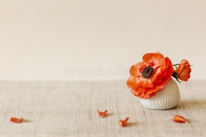 Orange anemonblomma i en liten japansk vas på tabellen arkivfoto