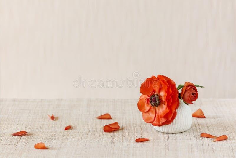 Orange anemonblomma i en liten japansk vas på tabellen royaltyfria foton