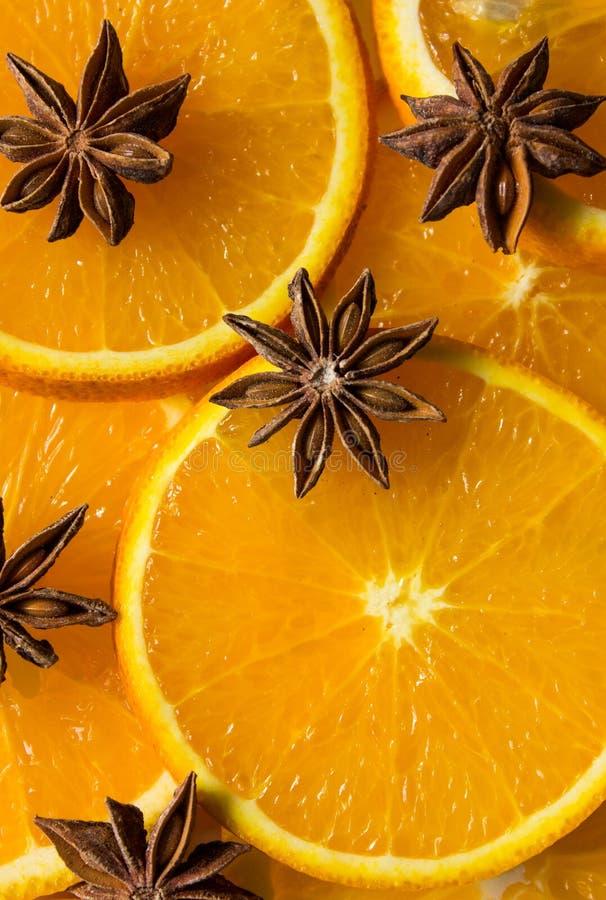 Orange and anise star, half of orange, orange lobule. NOrange and anise star, half of orange, orange lobule royalty free stock photography