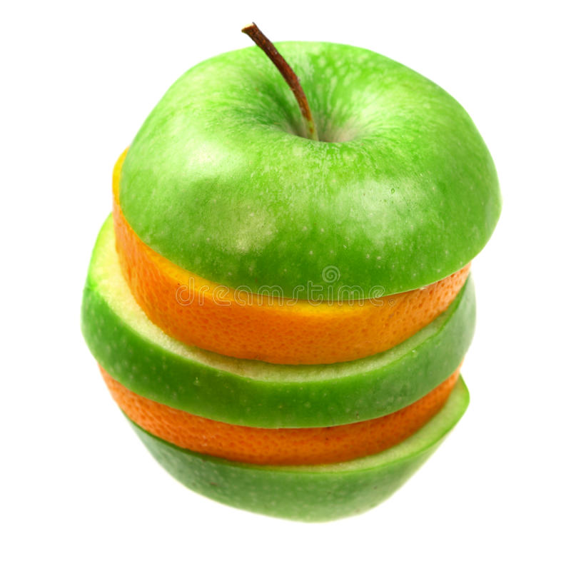 Orange and apple in pyramid royalty free stock photos