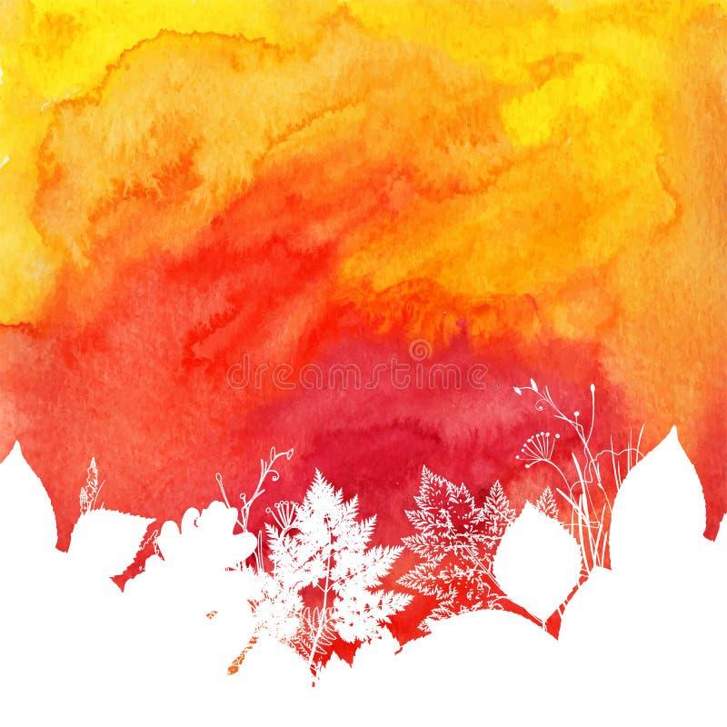 Orange Aquarellherbsthintergrund mit Weiß lizenzfreie abbildung