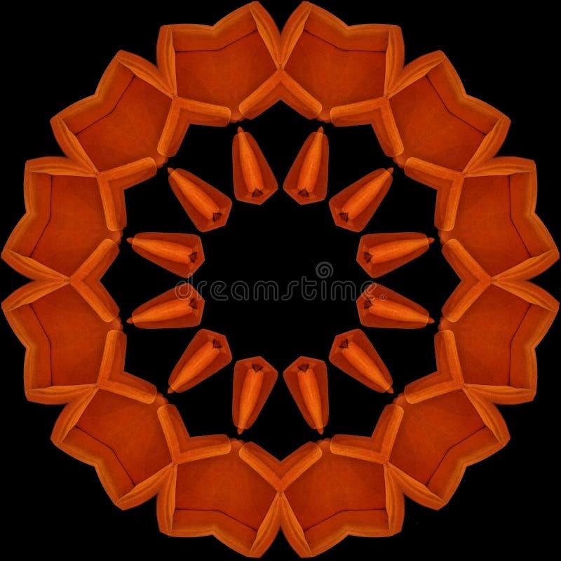 Orange armchairs seen through kaleidoscope vector illustration