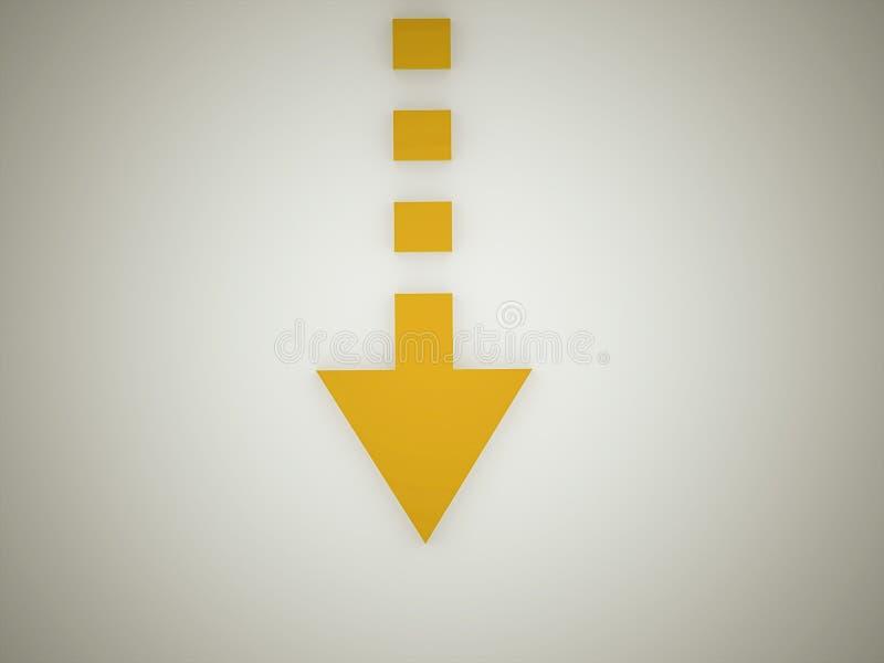 Orange arrow. Pointer on dark background royalty free illustration