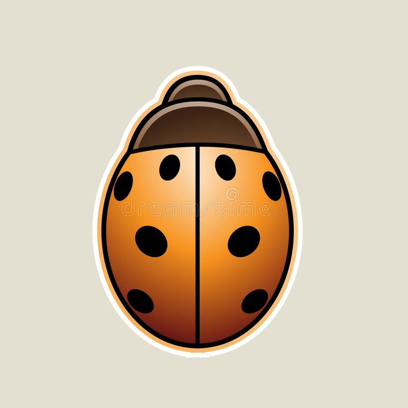 Orange Asian Ladybug Cartoon Icon Vector Illustration. Vector Illustration of Orange Asian Ladybug Cartoon Icon isolated on a White Background stock illustration