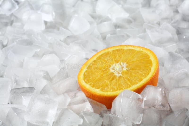 Orange auf Eis lizenzfreie stockbilder