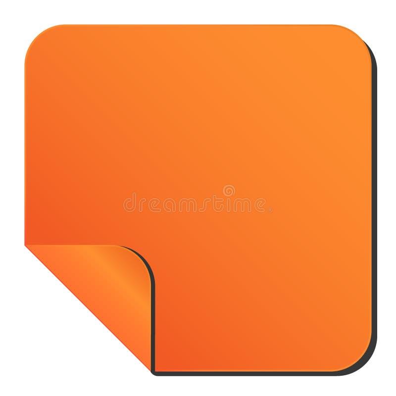 Orange Aufkleber mit gebogener Ecke quadratischer Aufkleber des Glatt-Randes mit 1 verbogener Ecke stock abbildung