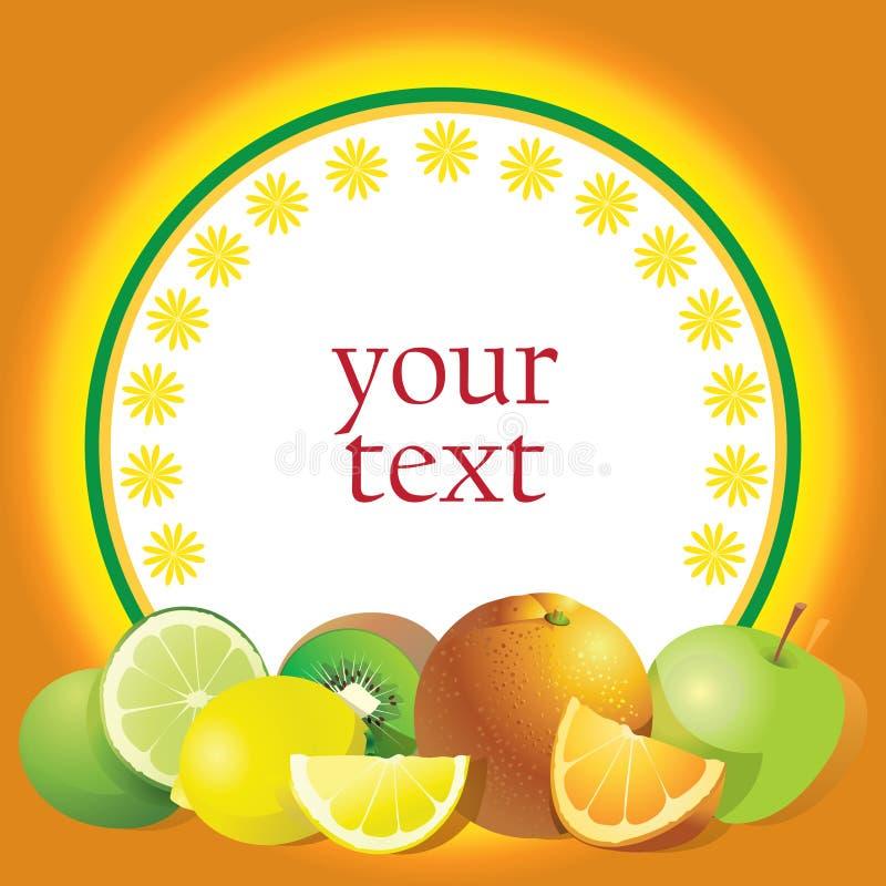 Orange Aufkleber mit Zitrusfrucht vektor abbildung