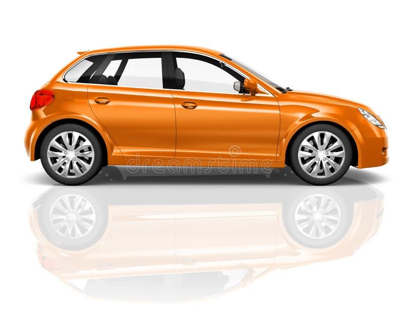 orange Auto des Hecktürmodell-3D auf weißem Hintergrund stockfotos