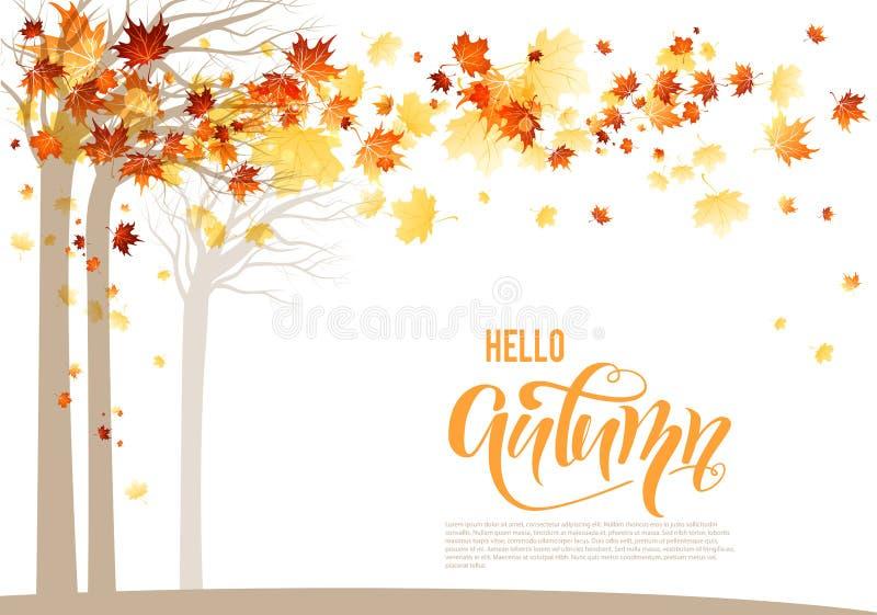 Orange autumn trees banner royalty free illustration