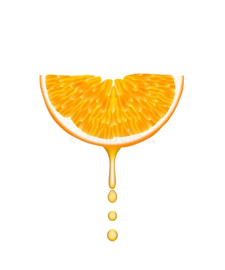 Orange avec des baisses en baisse de jus. image stock