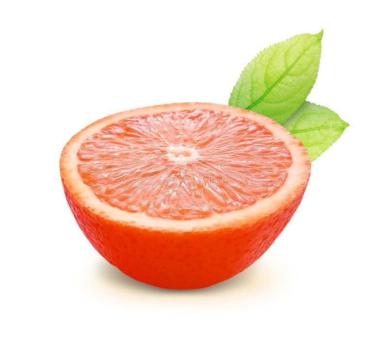 Orange avec des feuilles d'isolement sur le chemin blanc de fond et de coupure images stock