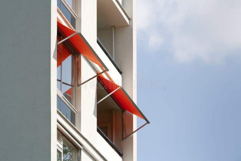 Orange awnings royalty free stock image