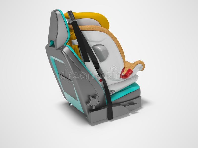 Orange baby car seat with five point safety straps with isofix 3d render on gray background with shadow vector illustration