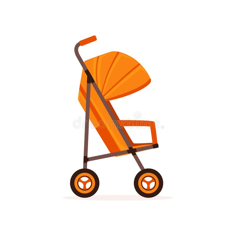 Orange baby carriage, safe handle transportation of toddler vector Illustration. On a white backgroun stock illustration