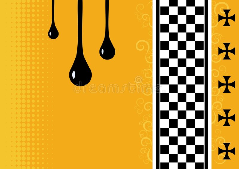 Orange background. An orange background with a chequered strip and other design elements royalty free illustration