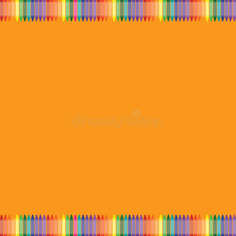 Orange background with colorful crayon border stock images