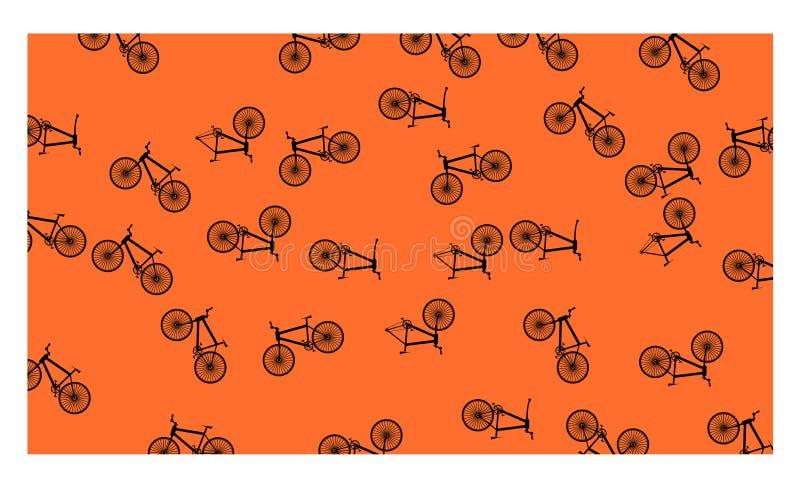 Orange background with many bicycles - vector illustration. EPS 10 royalty free illustration