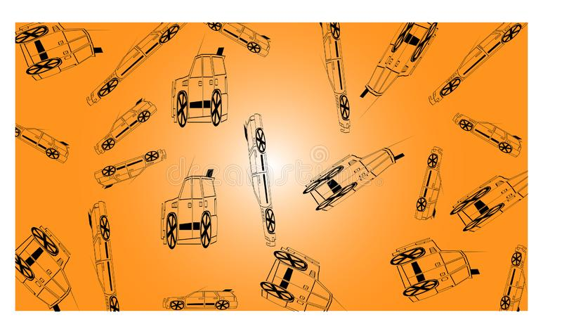 Orange background with many off road cars - vector illustration. EPS 10 vector illustration