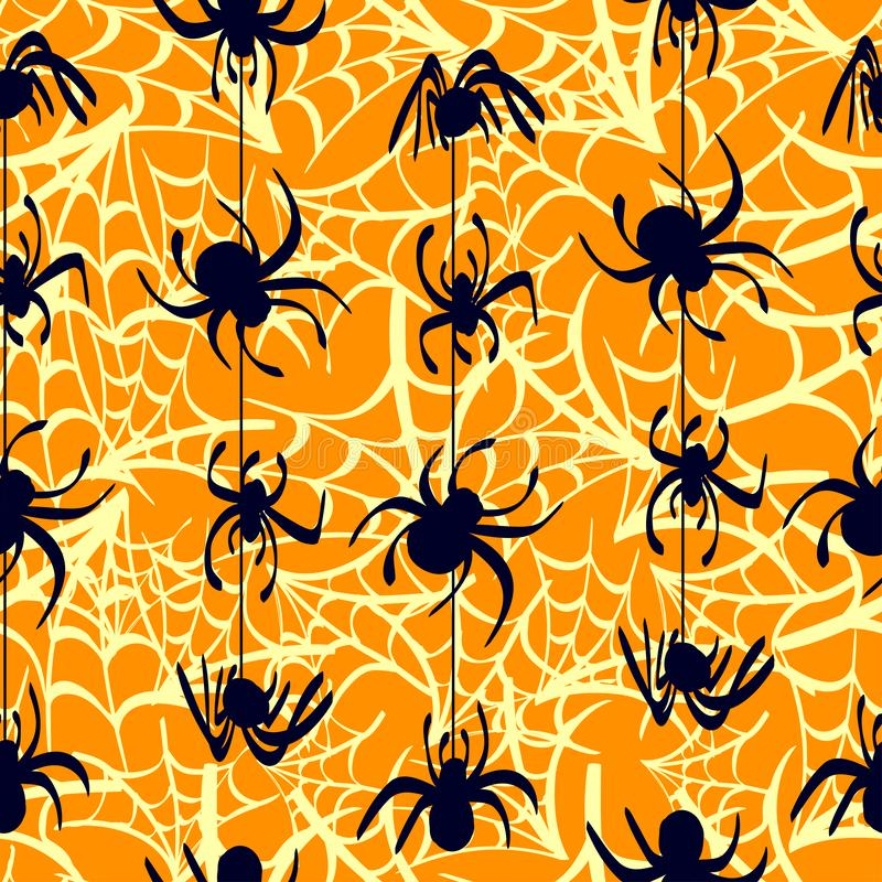 An orange background with spider webs and dark blue spiders. Vector seamless pattern vector illustration