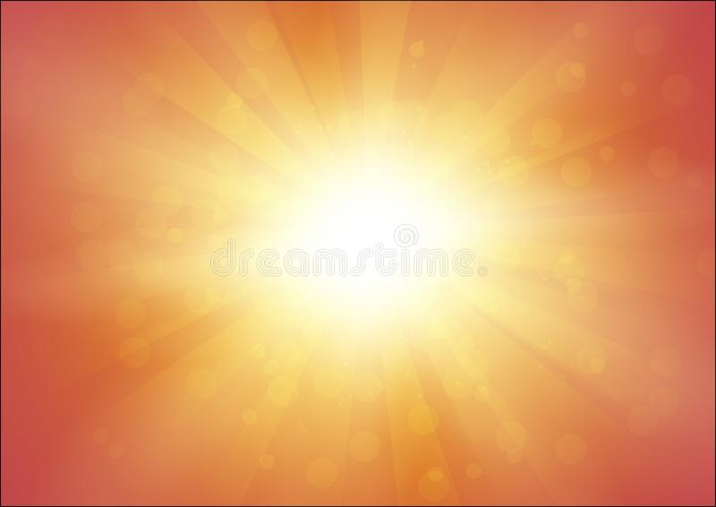 Orange Background with Sunshine and Flash with Rays - Abstract Vector Illustration in A4 Format. vector illustration