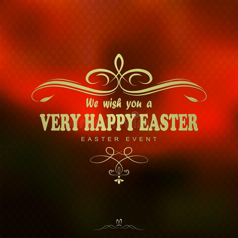 Orange background with the text of a happy easter card stock illustration
