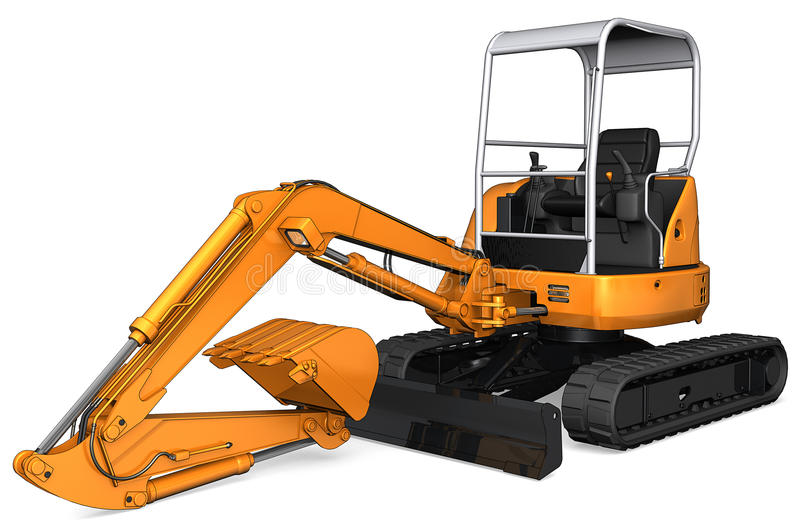 Orange Backhoe. A backhoe or ditch digging tractor for digging trenches royalty free illustration