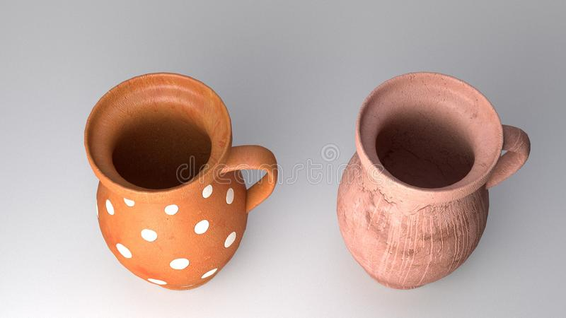 Orange Baked Clay Jugs royalty free illustration