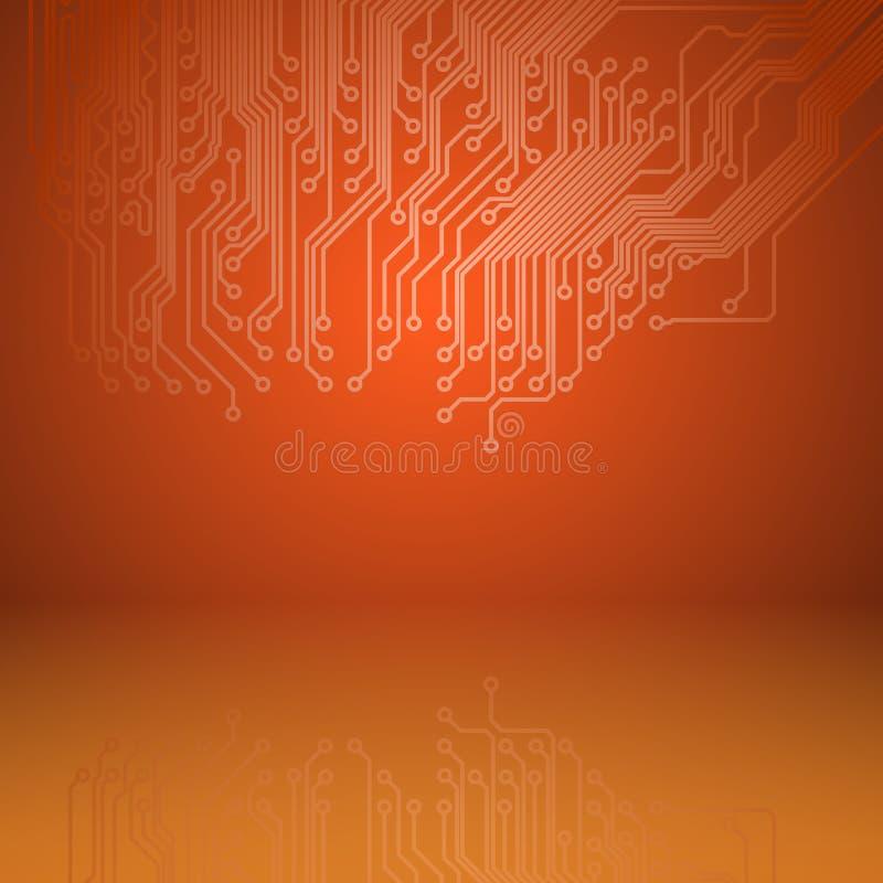 Orange bakgrund för abstrakt elektronik med textur för strömkretsbräde royaltyfri illustrationer