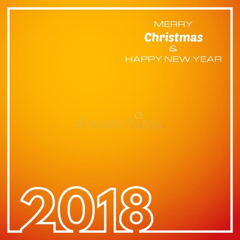 Orange bakgrund 2018 för lyckligt nytt år vektor illustrationer
