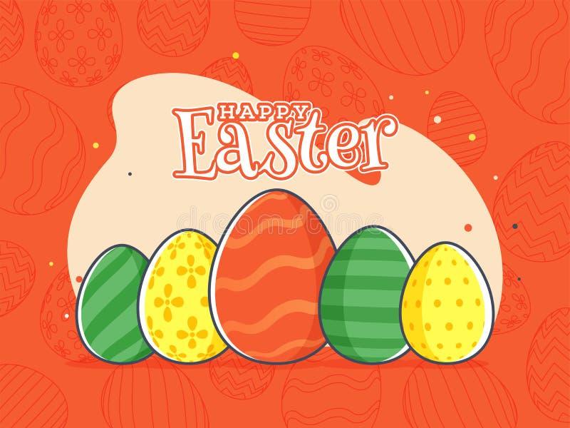 Orange bakgrund för Retro stil med det färgrika ägget, stilfull text av den lyckliga påskberömaffischen vektor illustrationer
