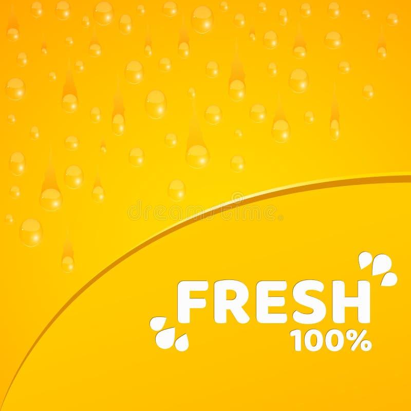 Orange bakgrund, mall för dina projekt 100 procent nytt sammanpressad orange fruktsaft Bevattna tappar Rundat hack Vektorillus royaltyfri illustrationer