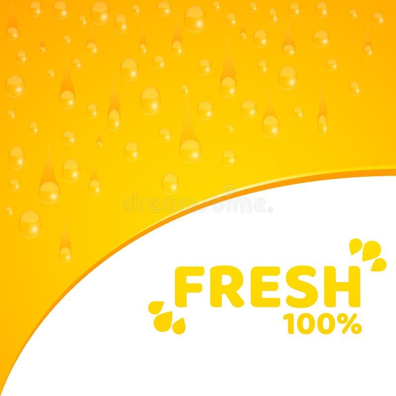 Orange bakgrund, mall för dina projekt 100 procent nytt sammanpressad orange fruktsaft Flödande droppar av vatten Rundat hack V royaltyfri illustrationer