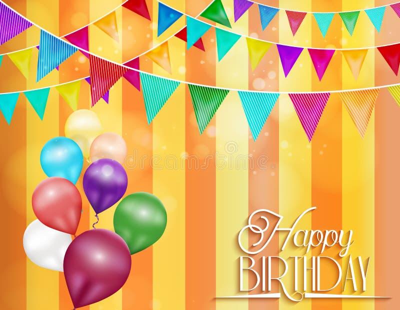 Orange bakgrund med bunting och färg sväller för berömmar av födelsedagen vektor illustrationer