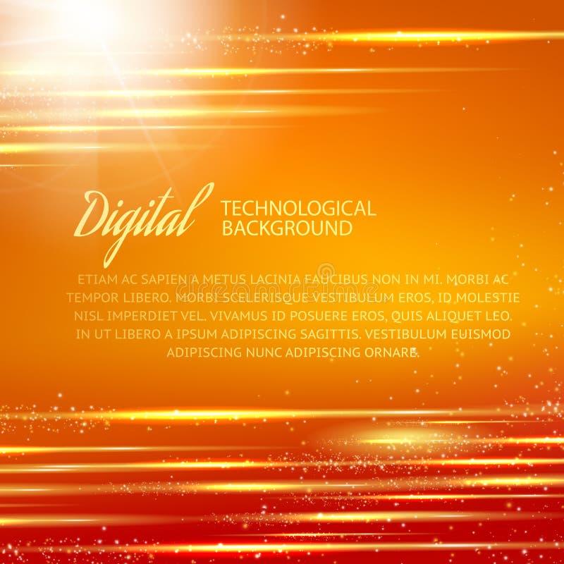Orange bakgrund med ljus effekt. Vektor vektor illustrationer