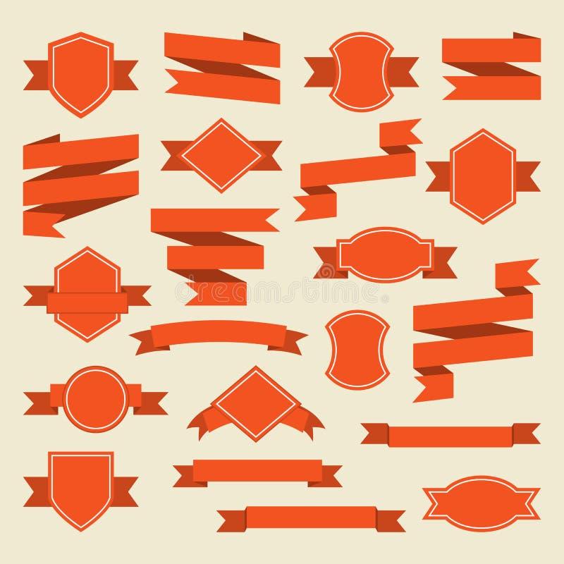 Orange band och etikettuppsättning i plan stil vektor illustrationer