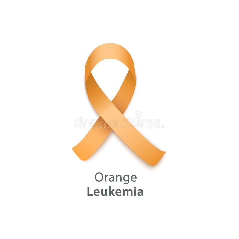 Orange band - symbol för leukemimedvetenhetaktionen vektor illustrationer