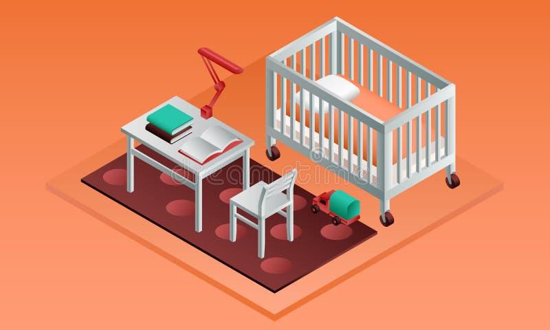 Orange baner för rumungesäng, isometrisk stil vektor illustrationer
