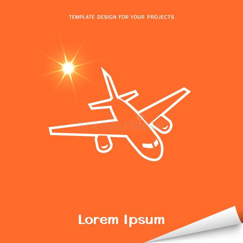 Orange banner with airplane icon stock illustration