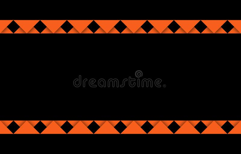 Orange banner with copy space and orange ribbon-like edges above and below, a festive graphic resource with black background royalty free illustration