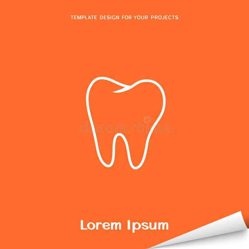 Orange banner with molar tooth icon royalty free illustration
